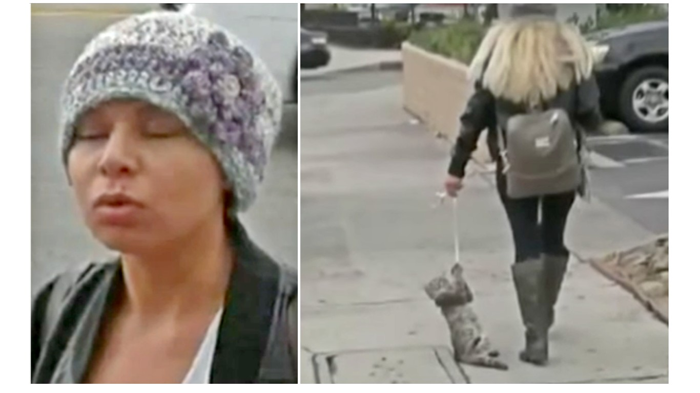 Prosecute cruel woman that dragged cat by leash in broad daylight!